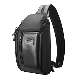 Men's Bags Microfiber Sling Shoulder Bag Zipper for Daily / Outdoor Black