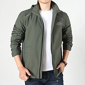Men's Jacket Regular Solid Colored Daily Active Black Blue Khaki M L XL