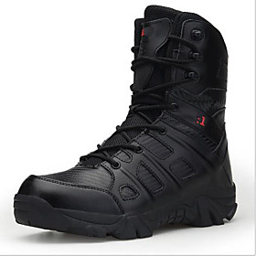 Men's Boots Sporty Athletic Daily Hiking Shoes / Walking Shoes Leather Non-slipping Wear Proof Black / Beige Fall / Winter