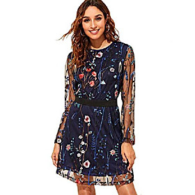 women's round neck floral embroidered mesh long sleeve dress navy large Listing Date:10/15/2020