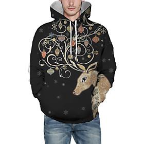 Men's Christmas Pullover Hoodie Sweatshirt 3D Graphic Reindeer Christmas Hoodies Sweatshirts  Brown