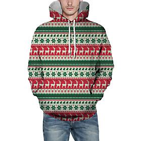 Men's Christmas Pullover Hoodie Sweatshirt Lines / Waves 3D Graphic Christmas Hoodies Sweatshirts  Blushing Pink