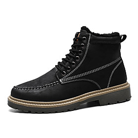 Men's Boots Classic / Vintage / British Outdoor Office  Career Microfiber Non-slipping Wear Proof Black / Khaki / Gray Fall / Winter