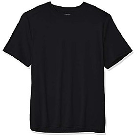 men's active moisture wicking short sleeve t-shirt, black-00101, small