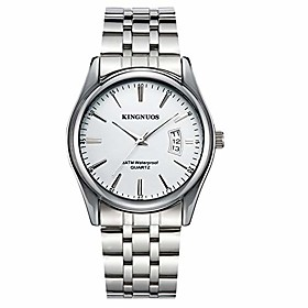men's business watches quartz waterproof analog date stainless steel wristwatch