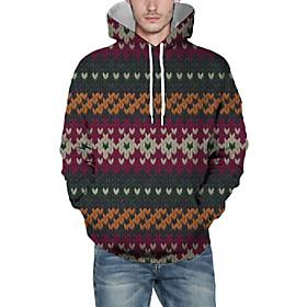 Men's Christmas Pullover Hoodie Sweatshirt Color Block 3D Graphic Christmas Hoodies Sweatshirts  Brown