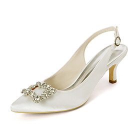 Women's Wedding Shoes Kitten Heel Pointed Toe Sweet Wedding Party  Evening Rhinestone Solid Colored Satin White / Purple / Dark Purple