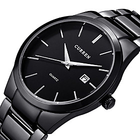 men's watches classic black/silver steel band quartz analog wrist watch with date for man