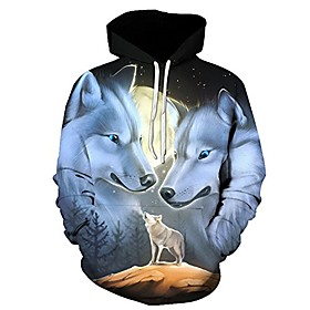 3d hoodies wolf 3d printed sweatshirt snow wolf hoodies-dx048-s