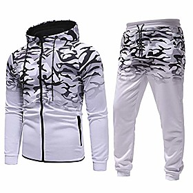men sport suit camouflage top fitness sports hoodie sweatpants tracksuit (xxl, a-white)