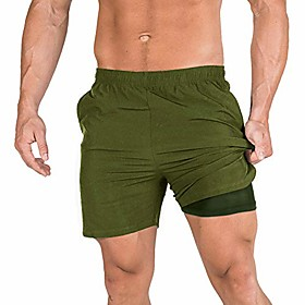 men's 2 in 1 gym workout shorts quick dry training running short pants with pocket(army green xs/tag m)