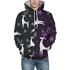 Men's Christmas Pullover Hoodie Sweatshirt 3D Graphic Cartoon Christmas Hoodies Sweatshirts  Black