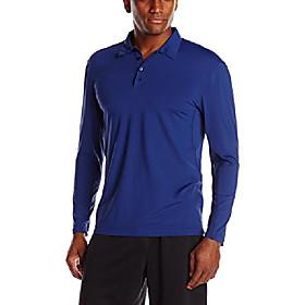 men's long sleeve collared shirt, navy, large