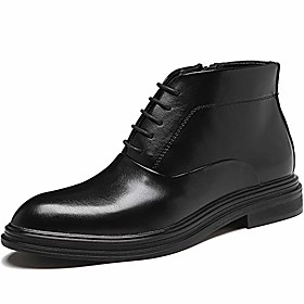 men's leather oxfords ankle lace-up fashion boots dress boot black size 13