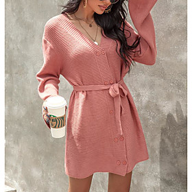 Women's A-Line Dress Short Mini Dress - Long Sleeve Solid Color Patchwork Fall Casual 2020 Black Yellow Blushing Pink S M L XL
