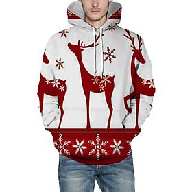 Men's Christmas Pullover Hoodie Sweatshirt 3D Graphic Reindeer Christmas Hoodies Sweatshirts  Wine