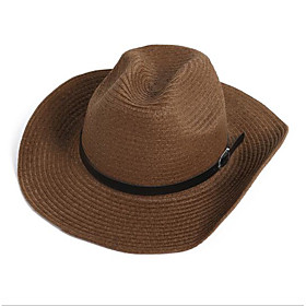 Men's Straw Hat Straw Basic - Solid Colored Yellow Khaki Brown