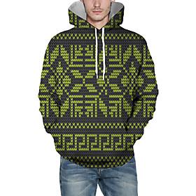 Men's Christmas Pullover Hoodie Sweatshirt Print 3D Graphic Christmas Hoodies Sweatshirts  Light Green