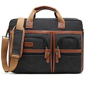 Men's Bags PU Leather Briefcase Zipper for Office  Career Black / Purple / Gray
