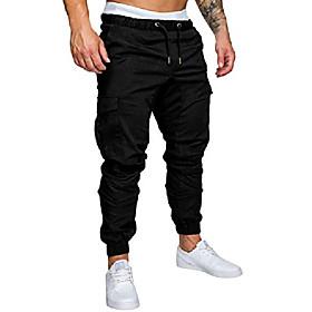 men's cargo pants slim fit casual jogger pant chino trousers sweatpants (red, medium)