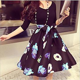 Women's A-Line Dress Knee Length Dress - 3/4 Length Sleeve Floral Print Summer Casual Vintage Cotton 2020 Black Gray S M L XL XXL 3XL