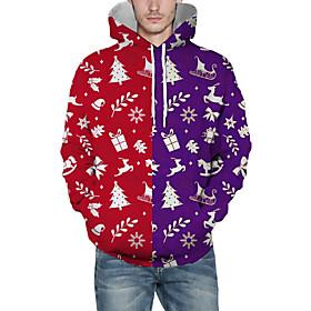 Men's Christmas Pullover Hoodie Sweatshirt 3D Graphic Character Christmas Hoodies Sweatshirts  Red