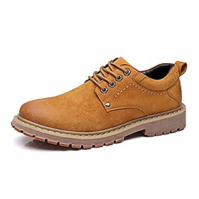 men's lace up oxfords literal leather low heel work boots turn toe vintage (color : brown, size : 8 m us)