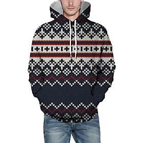 Men's Christmas Pullover Hoodie Sweatshirt Plaid Checkered 3D Graphic Christmas Hoodies Sweatshirts  Navy Blue