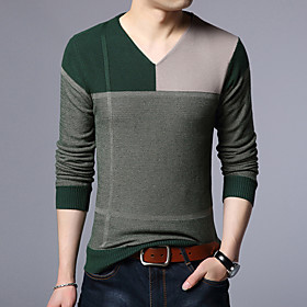 Men's Basic Knitted Color Block Pullover Long Sleeve Sweater Cardigans V Neck Winter Red Yellow Green