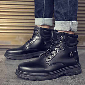 Men's Boots Classic / Casual / British Daily Outdoor Cycling Shoes / Walking Shoes PU Breathable Waterproof Shock Absorbing Black Fall / Winter