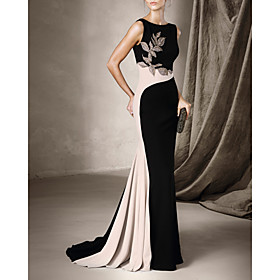 Mermaid / Trumpet Beautiful Back Sexy Engagement Formal Evening Dress Halter Neck Sleeveless Court Train Spandex with Pleats Beading 2020