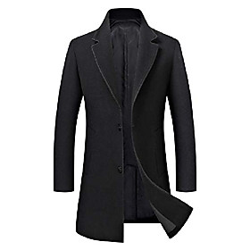 men's trench coat wool blend slim fit jacket single breasted business top coat 577 black s