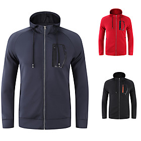 Men's Hoodie Jacket Front Zipper Stand Collar Solid Color Sport Athleisure Hoodie Long Sleeve Breathable Quick Dry Sweat Out Comfortable Exercise  Fitness Runn