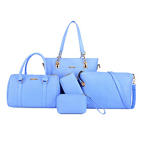 Women's Bags PU Leather Bag Set 5 Pieces Purse Set Zipper for Daily Black / Blue / Red / Blushing Pink / Bag Sets