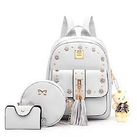 Women's Bags PU Leather Bag Set 3 Pcs Purse Set Tassel Zipper for Daily Black / Blushing Pink / Light Gray / Beige / Bag Sets