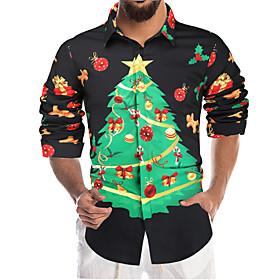 Men's Christmas Shirt Graphic Long Sleeve Tops Black