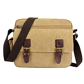 Men's Bags Canvas Crossbody Bag Zipper for Daily / Outdoor Black / Army Green / Khaki / Coffee