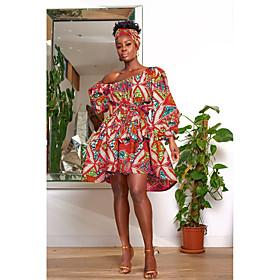 Women's A-Line Dress Knee Length Dress - 3/4 Length Sleeve Floral Print Summer Casual 1920s Lantern Sleeve 2020 Fuchsia Orange Green S M L XL