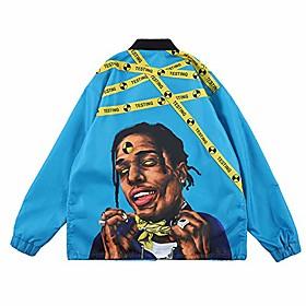asap hip hop windbreaker jacket long sleeve streetwear graphic lightweight windproof waterproof wind jacket spring blue