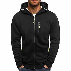 clearance!! mens' zipper hooded sweatshirt  autumn winter long sleeve patchwork cardigan tops (xxx-large, black)