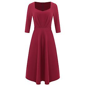 Women's A-Line Dress Knee Length Dress - 3/4 Length Sleeve Solid Color Ruched Zipper Fall Winter Elegant 2020 Black Blue Wine S M L XL XXL