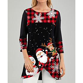 Women's Tunic Graphic Prints Print Round Neck Tops Christmas Basic Top Black