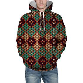 Men's Christmas Pullover Hoodie Sweatshirt Plaid Checkered 3D Graphic Christmas Hoodies Sweatshirts  Light Green