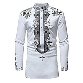 men's african dashiki shirt - long sleeve tribal printed stand up collar shirts