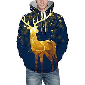 Men's Christmas Pullover Hoodie Sweatshirt 3D Graphic Reindeer Christmas Hoodies Sweatshirts  Blue