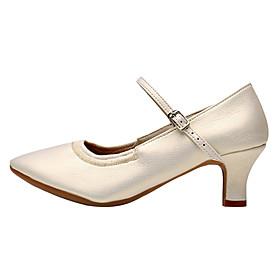 Women's Latin Shoes Heel Cuban Heel Nappa Leather Buckle White / Black / Silver