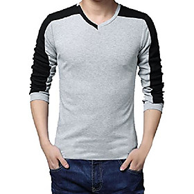 men's v-neck pullover long sleeved contrast color patchwork tee shirt gray s us 34