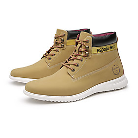 Men's Boots Combat Boots Work Boots Casual / Vintage Daily Leather / Microfiber Waterproof Lightweight Non Slip Booties / Ankle Boots Yellow Fall