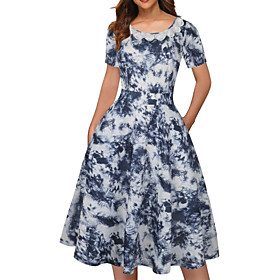 Women's Swing Dress Midi Dress - Short Sleeve Print Summer Casual 2020 White Black Blue Purple Red Dusty Blue S M L XL XXL