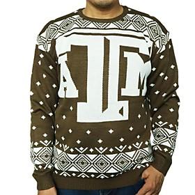 Men's Christmas Geometric Pullover Acrylic Fibers Long Sleeve Sweater Cardigans Crew Neck Winter Khaki